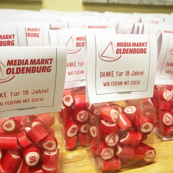 Logo-Bonbons für Media-Markt-Promotion, handgemacht, von Sweet Poppet
