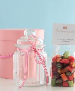 Geschenkset Sweets of the Caribbean mit Tropischer Mix-Bonbons und Bonbon-Glas von Sweet Poppet