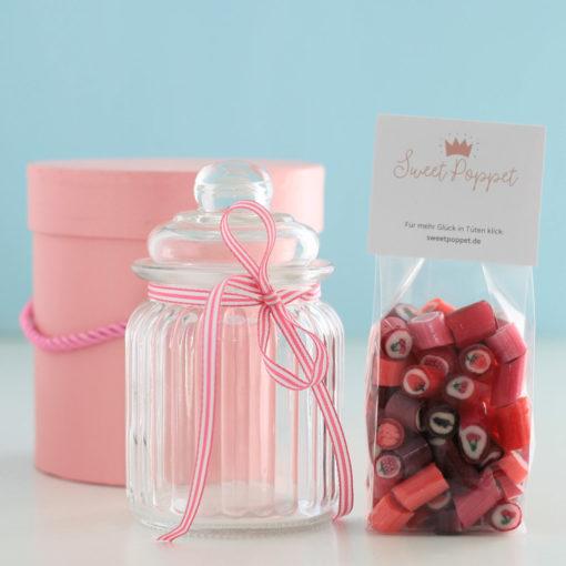 Geschenkset Berry Passion mit Rote-Früchte-Bonbons und Bonbonglas von Sweet Poppet
