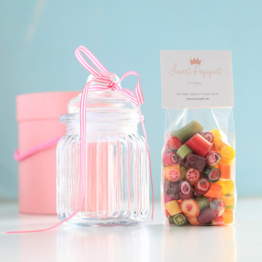 Geschenkset Bunte Bonbon-Mischung plus Bonbon-Glas