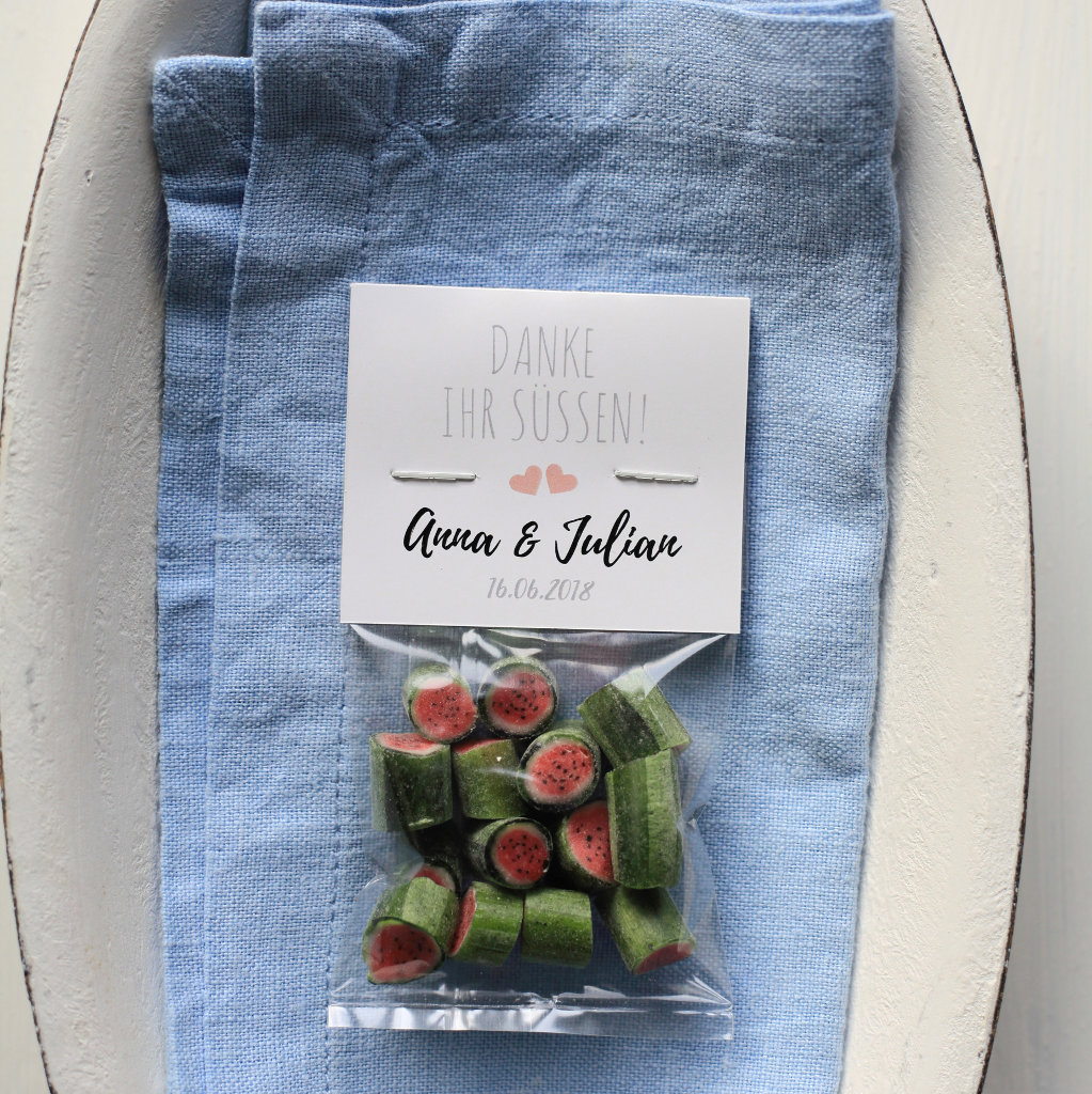 Sweet Poppet Wassermelone-Bonbons als Gastgeschenk für die Hochzeit mit individuellem Etikett