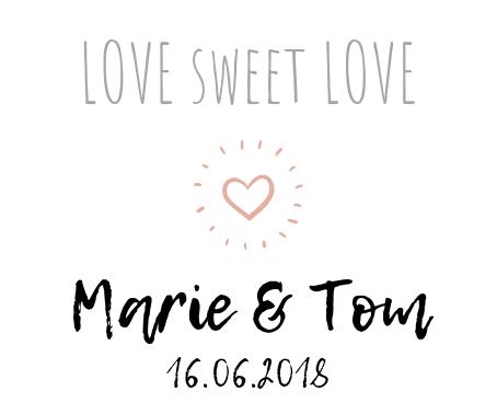 Idee Etikett Hochzeits-Bonbons Love sweet Love