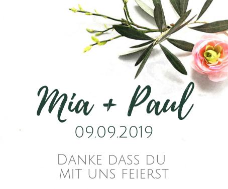 Etikett für Gastgeschenke Mia und Paul