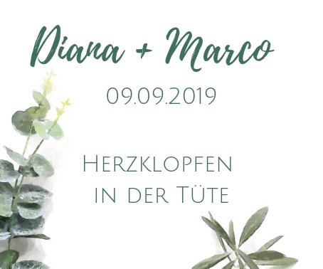 Etikett für Gastgeschenke Diana und Marco